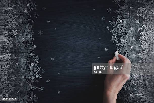 Christmas chalk drawing on blackboard