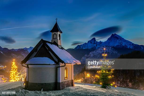 christmas chapel - königssee bavaria stock photos and pictures