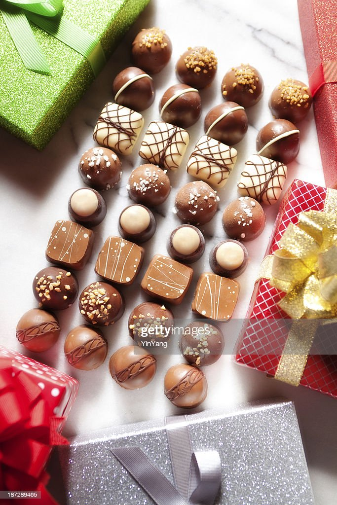 christmas chocolate candy confection gift packages display stock photo