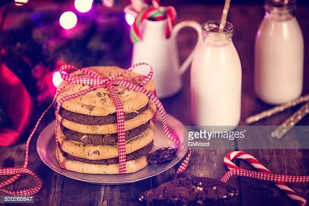 Scaglie di cioccolato biscotti di Natale su una Pila