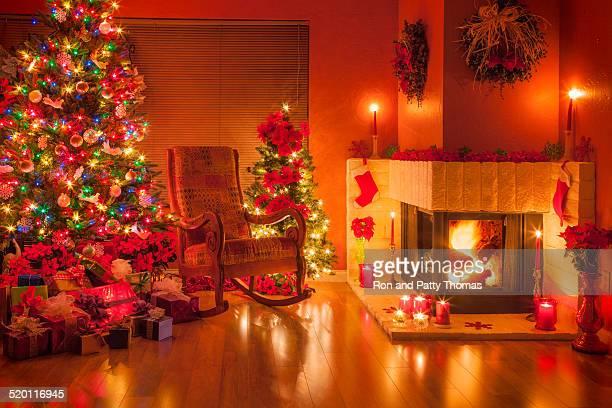 Christmas, Christmas tree, fireplace; holiday; ornaments;