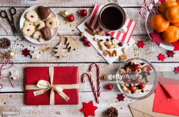 christmas composition on a wooden background. - christmas background stock photos and pictures