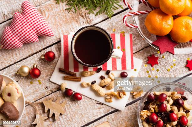 christmas composition, studio shot, wooden background - christmas background stock photos and pictures