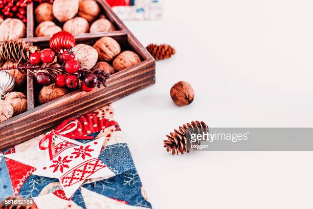 Christmas composition with wooden box
