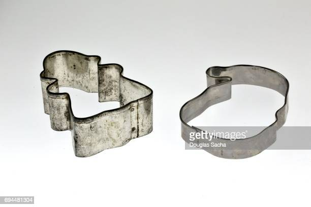 Christmas cookie cutters on a white background