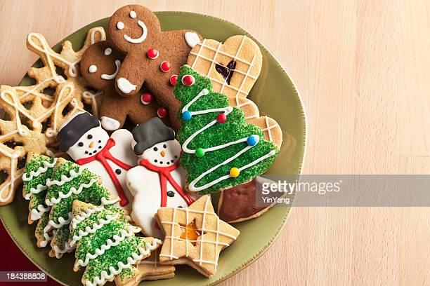 Galleta de navidad con el árbol, placa de Navidad pan de jengibre, muñeco de nieve, copo de nieve postres