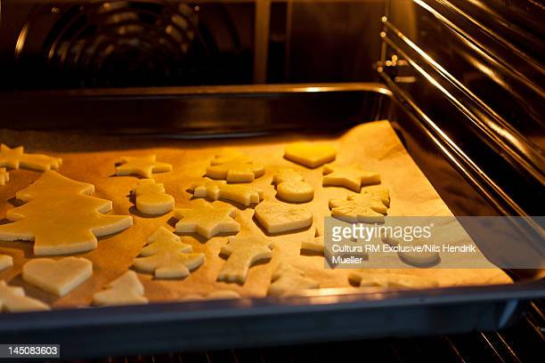 Christmas cookies baking in oven