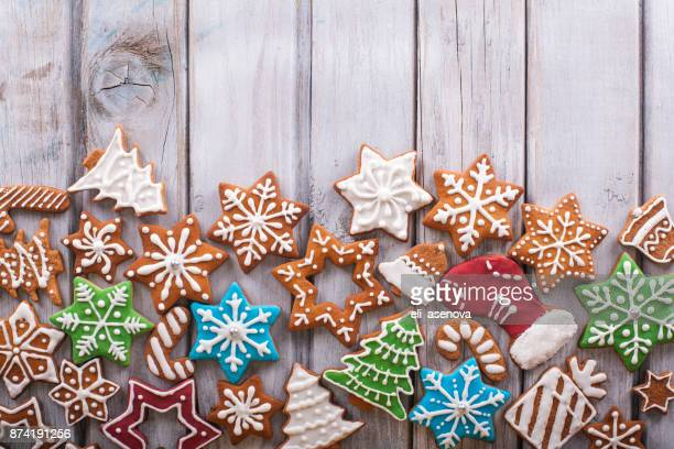 Christmas cookies on white wooden table
