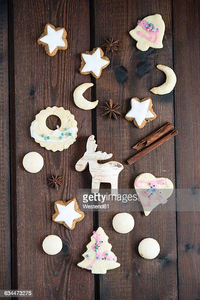 Christmas cookies on wood, cinnamon star, almond cookie, aniseed biscuit