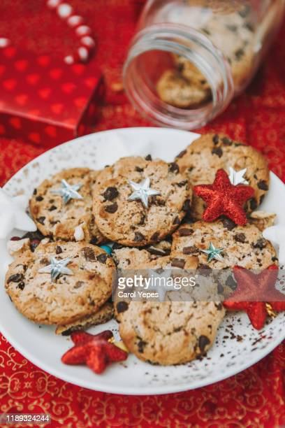 christmas cookies over wood background. homemade cookies - carol cook stock pictures, royalty-free photos & images