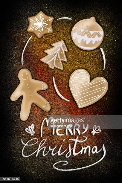 christmas cookies - cartoon santa claus stock photos and pictures