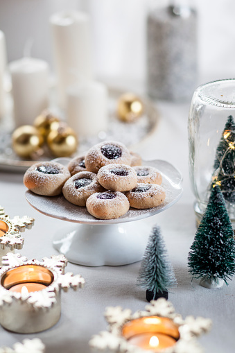 Christmas Cookies with jam filling on cake stand - gettyimageskorea