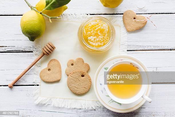 Christmas cookies with lemon tea and honey