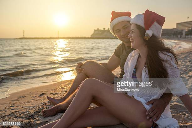 Christmas couple at the beach