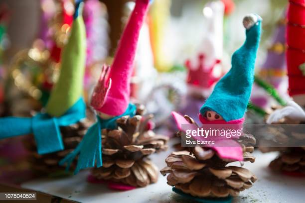 christmas craft figure decorations homemade by children - resourceful stock pictures, royalty-free photos & images