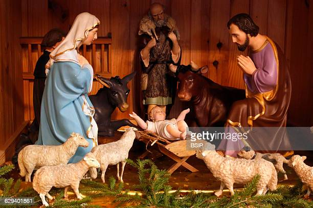 Christmas crib in a caholic church Nativity scene The holy Family