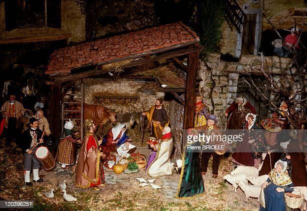 Christmas crib in France Traditional Christmas crib and figures from Provence