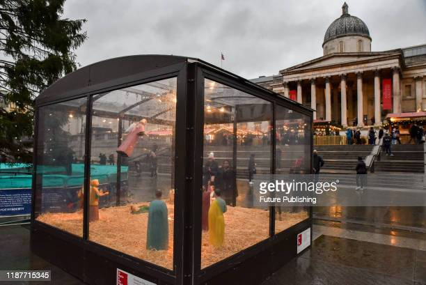 KINGDOM DECEMBER 10 2019 Christmas crib in Trafalgar Square by the artist Tomoako Suzuki PHOTOGRAPH BY Matthew Chattle / Barcroft Media