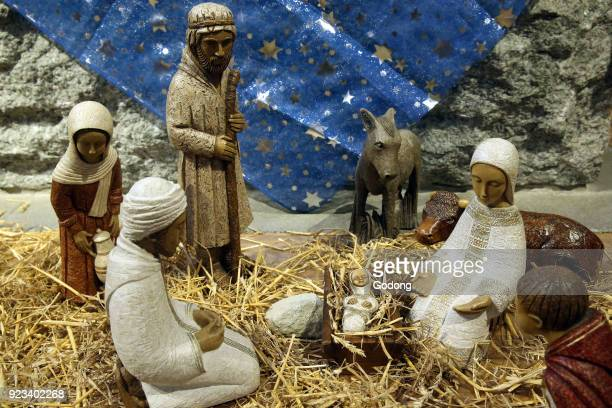 Christmas crib with baby Jesus France