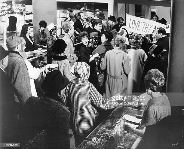 Christmas crowds in Gimbels department store in a scene from the film 'Fitzwilly' 1967