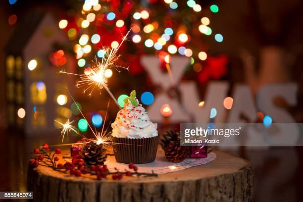 Christmas cupcake with Christmas Tree and lights