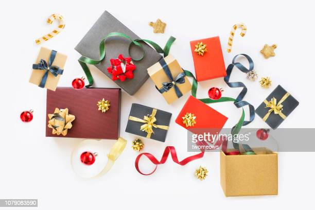 christmas day gift boxes still life. - royalty free celebrity images stock pictures, royalty-free photos & images