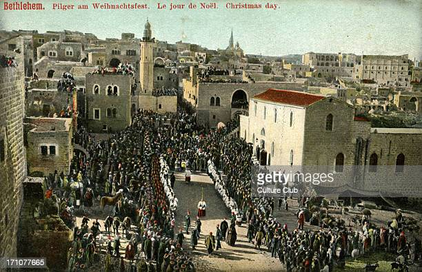 Christmas day in Bethlehem late 1800s early 1900s Pilgrims watch procession to the Church of the Nativity
