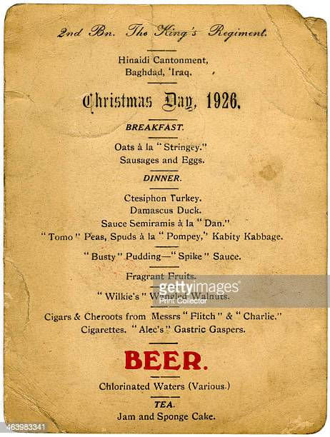 Christmas Day menu 2nd Battalion the King's Regiment Iraq 1926