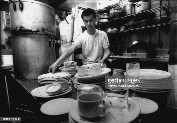 Christmas Day Worst Jobs To Be Doing TodayPing Pan 31 of Surry Hills washing dishes after the Lunch Time Christmas Rush at Eliza's Restaurant in...