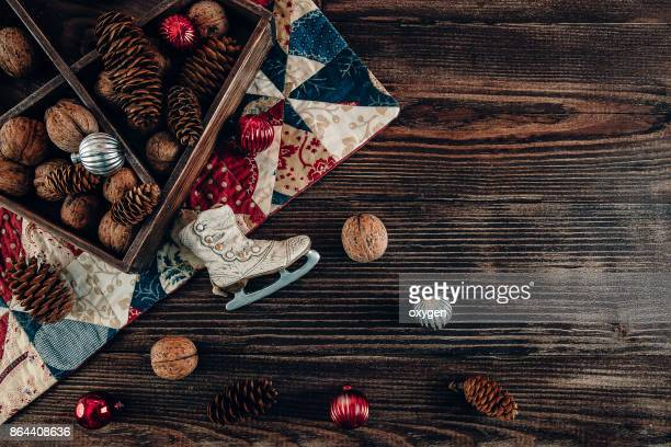 Christmas Decor Mockup on Dark Wooden Background
