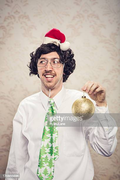 christmas decor office worker - ugly wallpaper stock photos and pictures