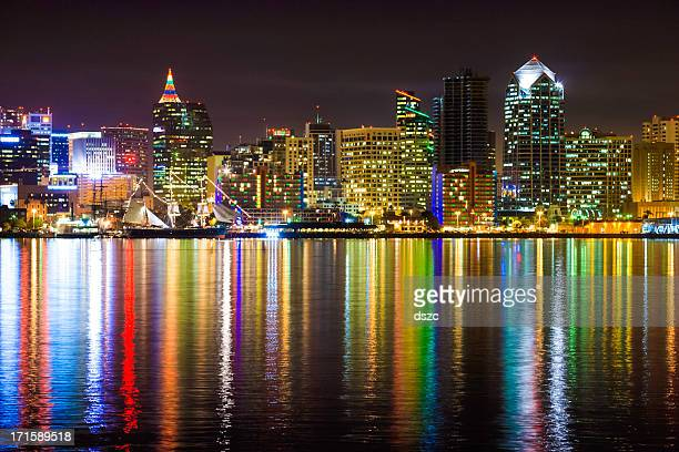 Christmas decorated San Diego city skyline, cityscape, harbor, reflections, night