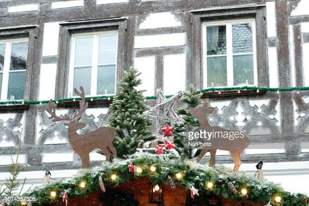 Christmas decoration and reindeers Christmas Market in the Northern Bavarian town of Forchheim It snowed heavily but a lot of people visited the...