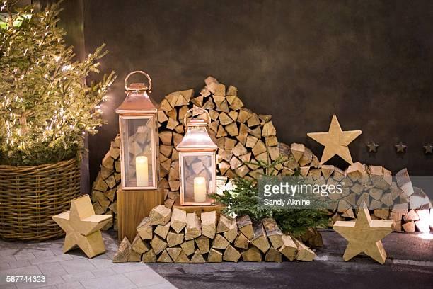 Christmas decoration at Chetzeron hotel, Crans-Montana, Swiss Alps, Switzerland