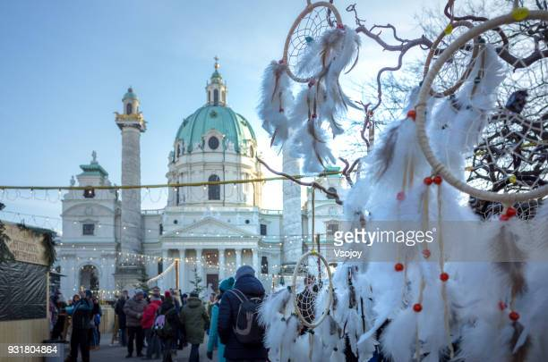 christmas decoration at karlskirche (st. charles's church), vienna, austria - vsojoy stock pictures, royalty-free photos & images