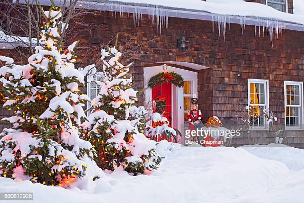 Christmas Decoration At The Front Of A House; Knowlton Quebec Canada
