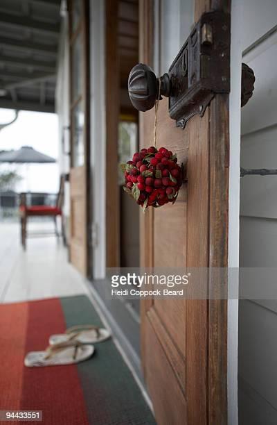 Christmas decoration hanging on door