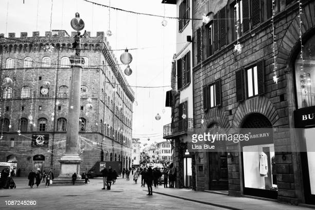christmas decoration in a street, florence, italy. black and white. - old town stock pictures, royalty-free photos & images