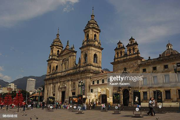 Christmas decoration in front of cathedral in Bolivar square in the old part of the city Bogota formerly called Santa Fe de Bogota is the capital...