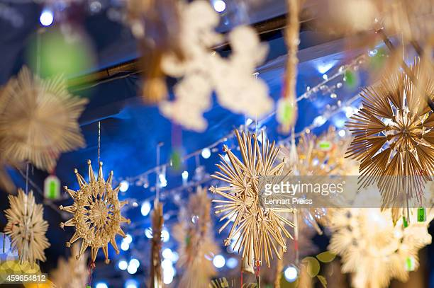 Christmas decoration is displayed at the annual Christmas market on Marienplatz square on the market's opening day on November 27 2014 in Munich...