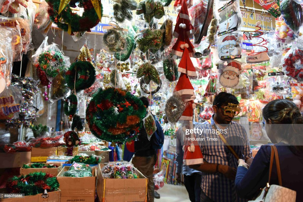 Christmas Decoration Items Including Santa Claus Shoping At Apmc News Photo Getty Images