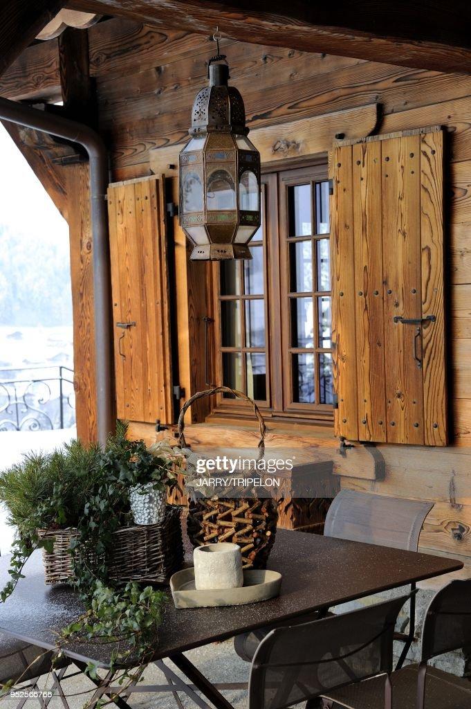 Christmas decoration of a Chalet, Morzine ski resort, Portes du ...