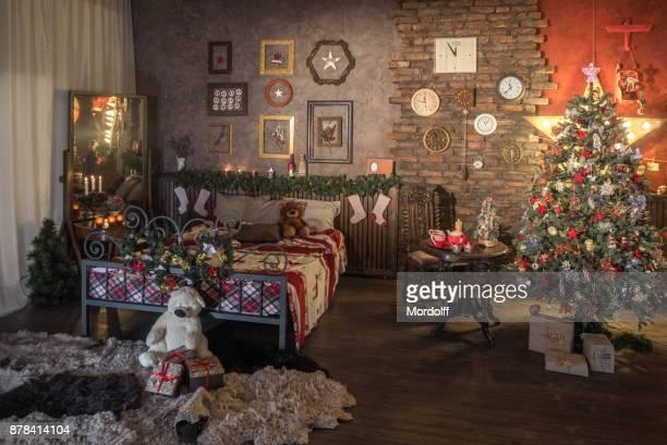 Weihnachts-Dekoration des Schlafzimmers