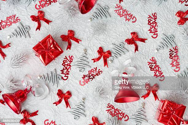 Christmas decoration of Christmas trees, tied bows and Christmas gifts