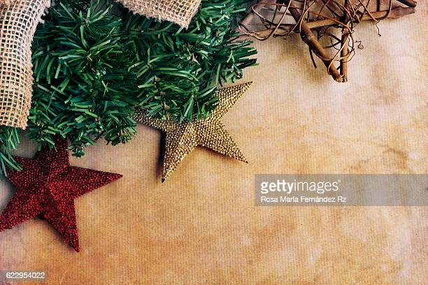 Christmas decoration on abstract background. Overhead and copy space.