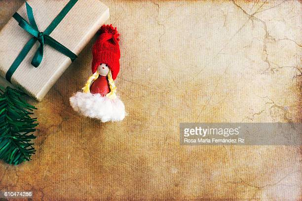 Christmas decoration on abstract background.Top view and copy space