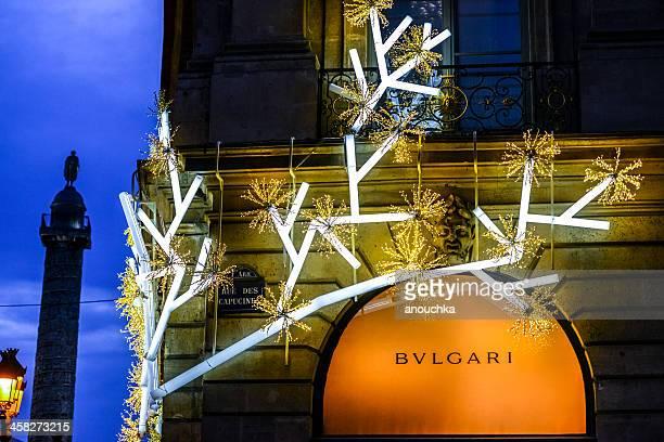 クリスマスのデコレーションには、ブルガリストア、ヴァンドーム広場、パリ - ヴァンドーム広場 ストックフォトと画像