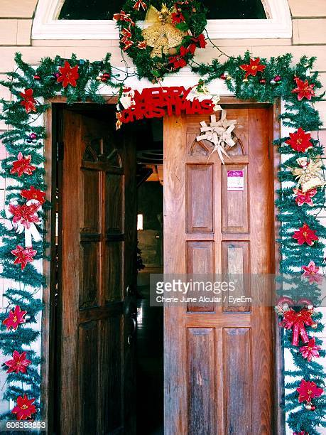 Christmas Decoration On Door Of House