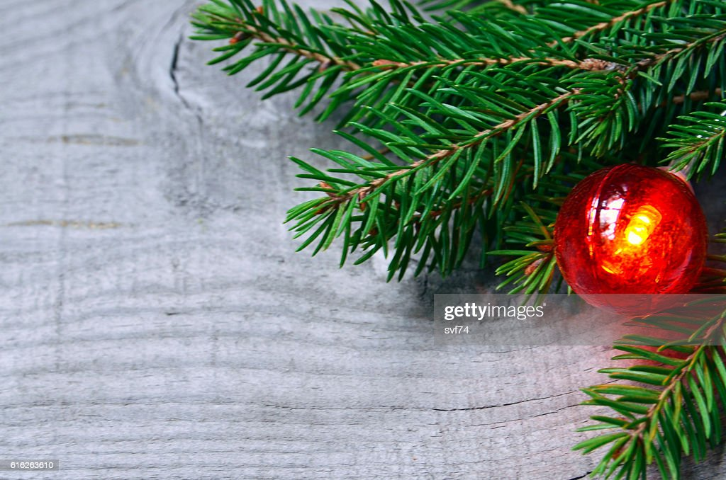 Christmas decoration on old wooden background. : Stock Photo