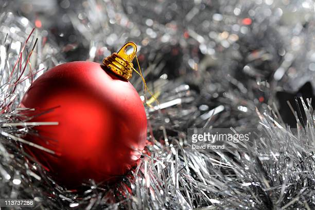 Christmas Decoration on Silver Tinsel